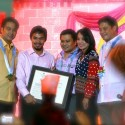 Senators Bong, Jinggoy, Loren & Migz giving Manny a citation