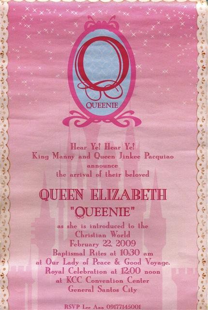 Queenie Pacquiao Baptismal Invitation