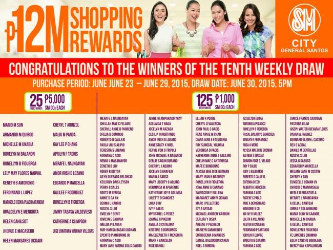 sm city 10th weekly winners