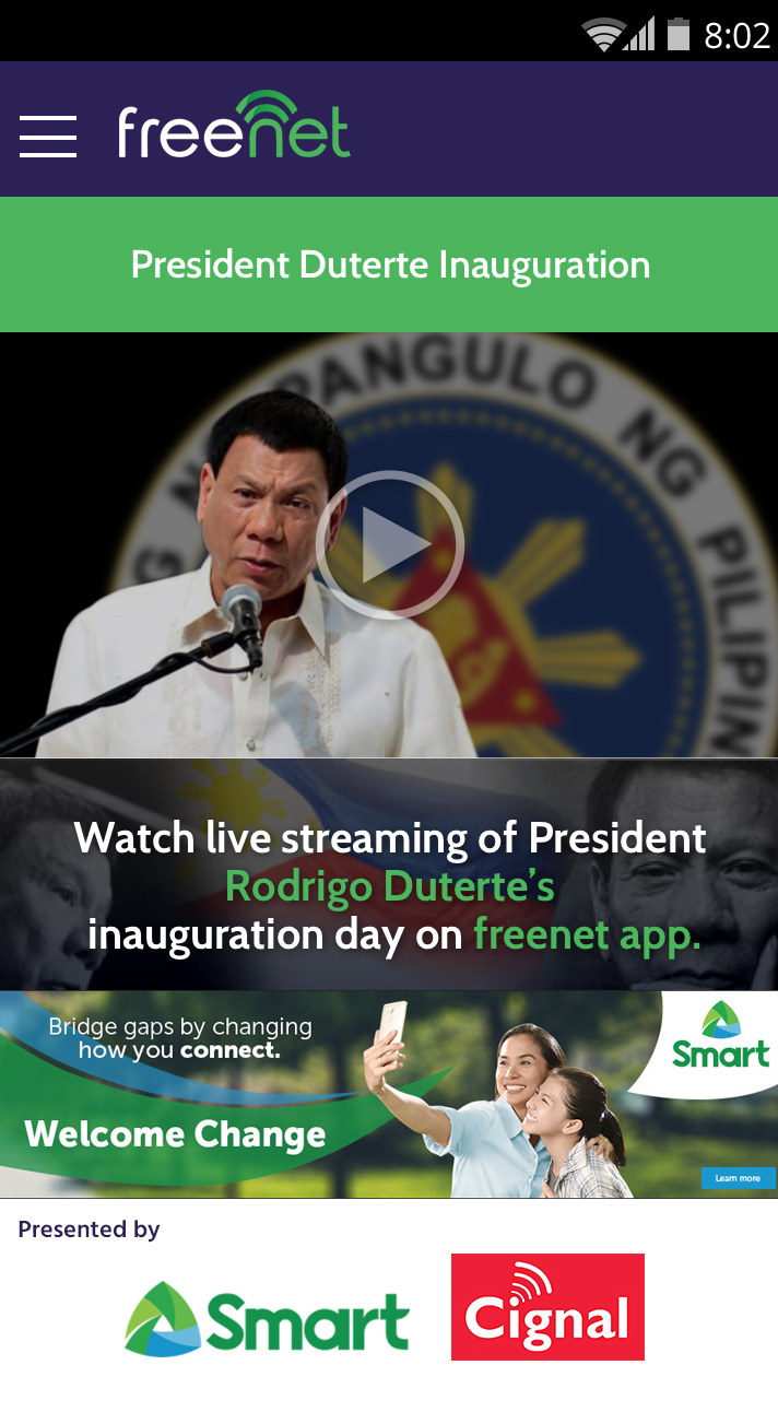 Smart offers FREE mobile live streaming of PH's first 'Social Media President' via freenet