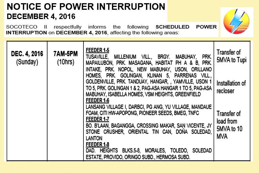 SOCOTECO 2 Brownout Schedules for December 4, 2016