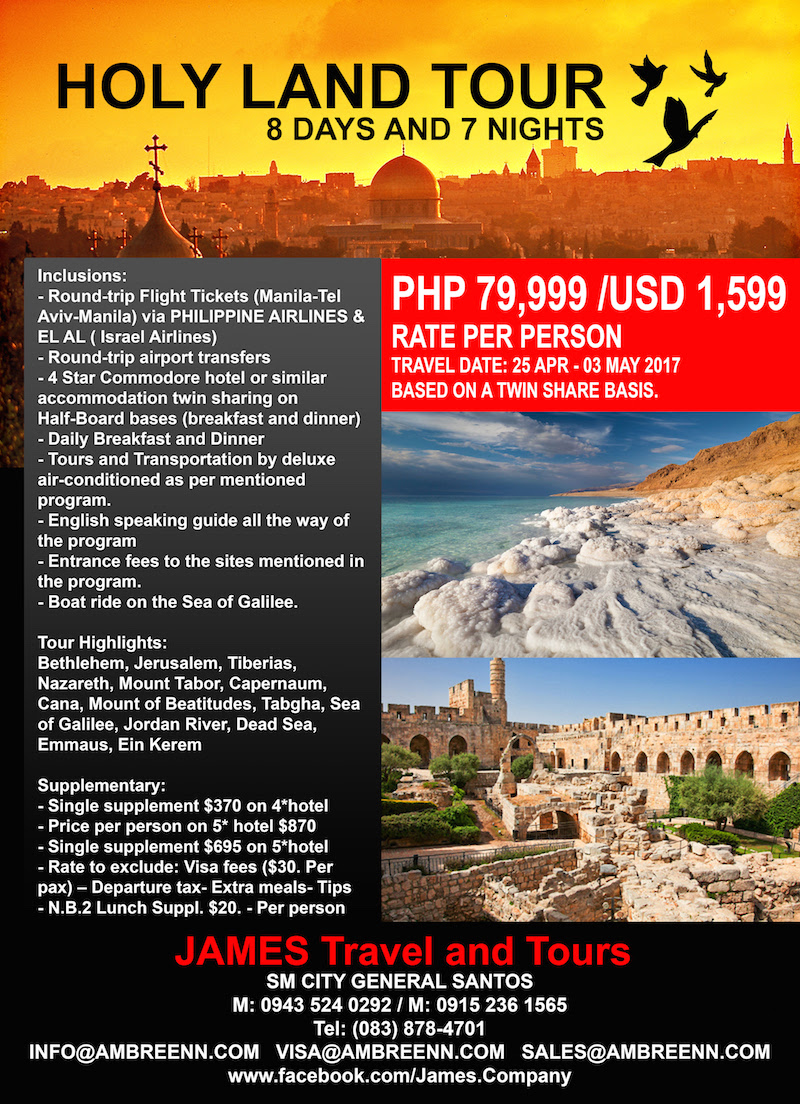 Amazing Holy Land Pilgrimage Package from Gensan's James Travel & Tours